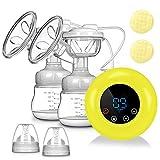 SUMGOTT Elektrische Milchpumpe, Wiederaufladbare Doppel-Stillpumpe, Elektrische Brustpumpe mit 3 Modi und 9 Saugstufen