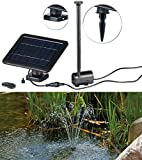 Royal Gardineer Solarpumpe: Teich- und Springbrunnen-Pumpe mit 2-Watt-Solarpanel und Akkubetrieb (Solarpumpe Teich)