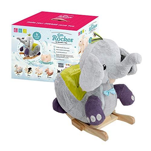 GERARDO`S Elefante A Dondolo In Peluche Con Musica. Elefante A Dondolo Per Bambini. Animale A Dondolo Per Bambini. Animale A Dondolo Imbottito Per Bambini A Partire Da 12 Mesi.
