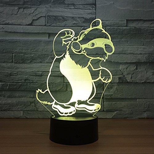 DFDLNL Cute Raccoon 3D Led Night Light Multicolor Acrílico RGB Iluminación USB 3D Lámpara de Mesa Interruptor táctil Decoración para el hogar