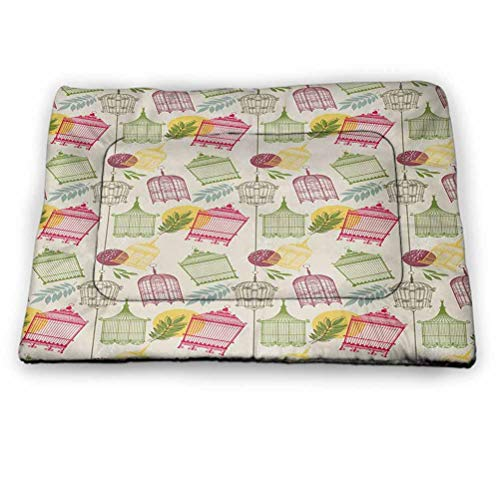 """DayDayFun Vintage Cute Pattern Pet Mat Pattern with Victorian Style Birdcages and Leaves Old Times Pets Animals Romantic Warming Pad Cozy Self Heating Cat Pad Multicolor Size 52""""x34"""""""