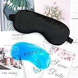 ESUHUANG Máscaras de sueño de Seda 3D Mascarilla de Ojos for Dormir de la Cubierta de Sombra de Sombra de Sombra Eyepatch portátil Vender a los Ojos vendidos con Bolsa de Hielo (Color : Black)