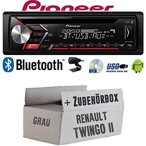 Autoradio Radio Pioneer DEH-S310BT - Bluetooth   CD   MP3   USB   Android Einbauzubehör - Einbauset für Renault Twingo 2 grau - JUST SOUND best choice for caraudio