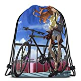 Chezaskee Evangelion Asuka y bicicleta con cordón bolsas clásicas para hombres y mujeres deportes mochila bolsa de almacenamiento viaje playa bolsa