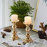 Wedecor Kerzenhalter für Stumpenkerzen, Metall, goldfarben, 2 Stück Fit 50mm Dia Canlde 15cm H - 2