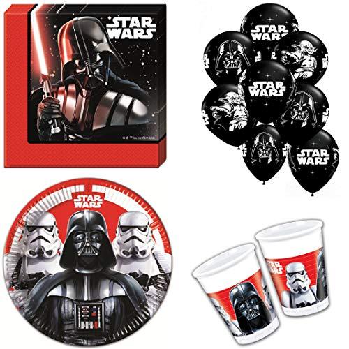 Party-Teufel® Star Wars Last Battle Tischgeschirr-Set 44-teilig Servietten Pappteller Becher Luftballons für 8 Kinder Kindergeburtstag Einweggeschirr
