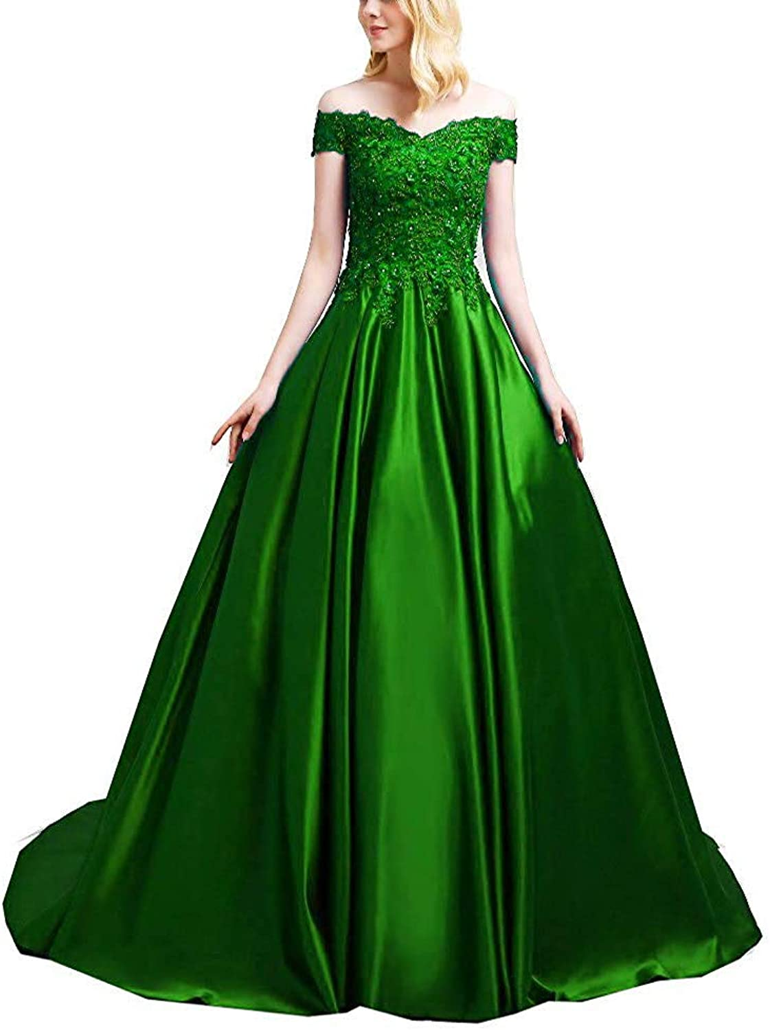 ANFF Women's Ball Gown Prom Dresses Beaded Long Formal Evening Dress Lace