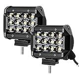LE Focos de Coche 2pc 36W 12 LED Potentes 4 Pulgadas, 3600lm Resistente al agua IP67, Blanco Frío, Faro para Camión, Todoterreno, Tractor, Barco etc