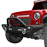 LEDKINGDOMUS Front Bumper Compatible with 07-18 Jeep Wrangler JK & Unlimited Rock Crawler Bumper with 4X LED Lights w/Winch Plate and D-rings