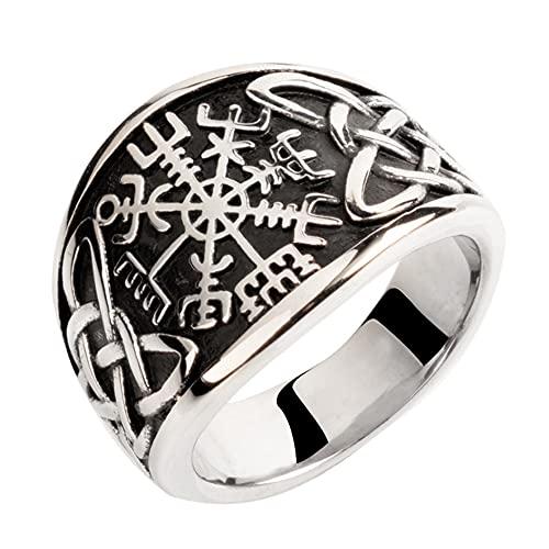 Vikingo Anillos Vegvisir Acero Inoxidable para Hombres Nórdico Brújula Valknut Símbolo De Odin Runa Nudo Celta Joyería Pagana,13