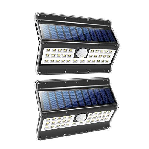EZBASICS Solar Lights Outdoor, 3 Optional Modes Wireless Motion Sensor Light -120° Wide Angle, IP 65 Waterproof Powered Wall Light, Security Lights for Garden, Front Door, Yard, Garage, Deck, 2 Pack