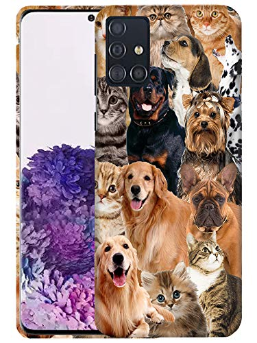 Glisten Samsung Galaxy A51 Case [Not for 5G] - Cat Dog Collage Design Printed Sleek, Slim Fit & Cute Plastic Hard Snap on Designer Back Case/Cover for Galaxy A51 Case [for 4G only]