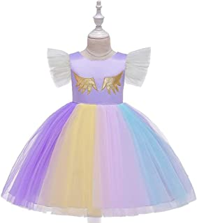 SEASHORE Princess Skirt lace Girl Bow Flower Girl Wedding Performance Piano Costume 4-12 Years Old (Color : Purple, Size : 12-13T)
