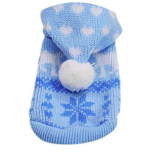 Fossrn Ropa Perro Pequeño Invierno para Mascotas Tejer Suéter con Capucha Capa Abrigo de Ropa para Yorkshire Chihuahua (Azul, L)