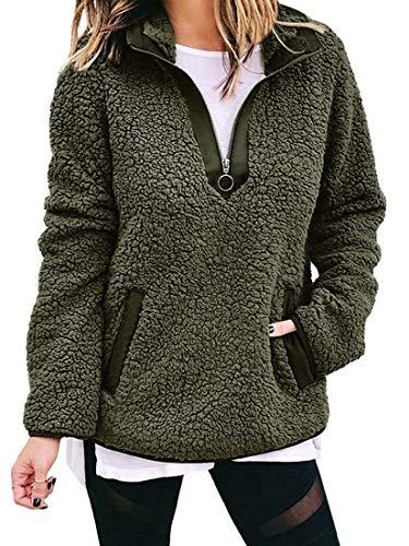 Minetom Damen Teddy-Fleece Sweatshirts Herbst Winter Mode Flauschig Oberteil Langarmshirt Rollkragen Halber Reißverschluss Mit Taschen Pullover Grün 38