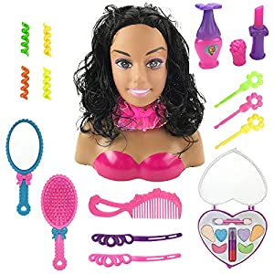 Deluxe Styling Head Doll (African American) Playset in Display Gift Case for Endless Hair Play Possibilities Accessories include: Vanity Mirror, Hair Brush, Comb, Hair Clips, Clips, and Scarf Play Cosmetics include: Eye Shadow Case, Lipstick, and Mor...