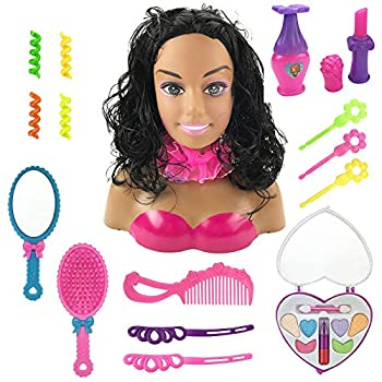 African American Black Styling Doll Head Girls Playset with Beauty and Fashion Accessories
