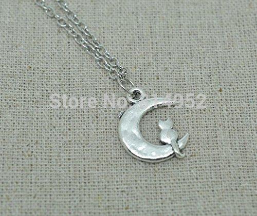 Plata tono Sailor Moon–Luna–Luna Cat–Collar con Colgante Cresent Luna Collar Con Cadena