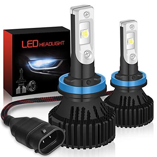 KATUR H11 H8 H9 Ampoules de phares LED Kit de Conversion de phares à Del Tout-en-Un étanches Super Brillants 16000LM, Blanc, 60W 6500K Blanc - Garantie de 3 Ans