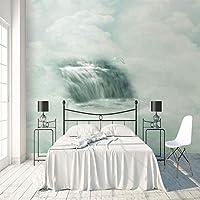 3D大型ウォールステッカー ウォーターフォールビュー 巨大な壁紙 不織布3Dアートモダンポスター画像リムーバブルDIYリビングルームカスタマイズ可能なサイズ壁画壁装飾 150X120cm (59X47inch)