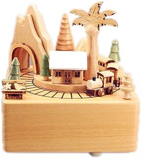 YI KUI Caja de música giratoria, Caja de música de Madera para estación de Trenes, Caja de música grabada para niños/Regalos para Amigos