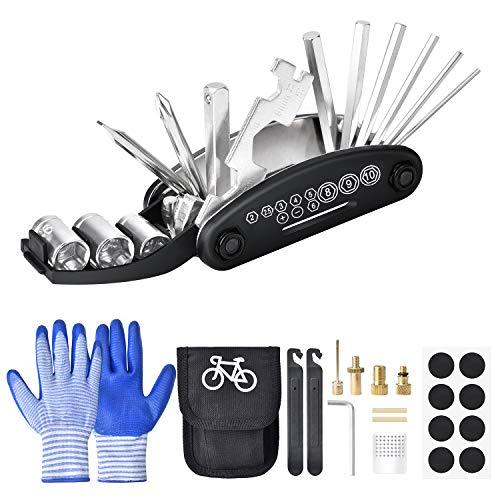 VIGRUE Fahrrad-Multitool, 16-in-1 Fahrrad Werkzeug Multifunktions-Reparatursatz mit Handschuh und Tasche Fahrradwerkzeug Set, Selbstklebendes Fahrradflicken usw
