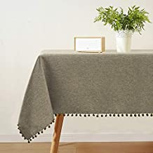 JUCFHY Rectangle Table Cloth,Linen Solid Tablecloth Heavy Duty Fabric,Stain Resistant,Wrinkle Resistant Washable Table Clo...