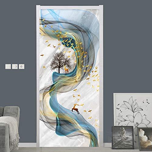 Adesivo per Porta 3D Autoadesivo Murales Poster per porta interna Decalcomanie Fumo di arte astratta 88x200cm Art Adesivi Per Porte Pvc Autoadesivo Smontabile Porta Casa Decalcomanie