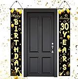 30 Cumpleaños Pancarta Oro Negro,Decoración de Fiesta de 30 Cumpleaños,30 Años Oro Negro Pancarta,30 Cumpleaños Cartel de Porche Decoración Colgante Pancarta de Bienvenida