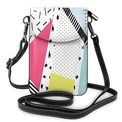 Hdadwy Handy Geldbörse Lustige 80er Jahre 90er Jahre Retro Neon Pink Dreieck Telefon Geldbörse 3D-gedruckte lebendige Kartenhalter Kleine Tasche Robuste PU Leder Passport Geldbörse Geldbörse Mit Gurt