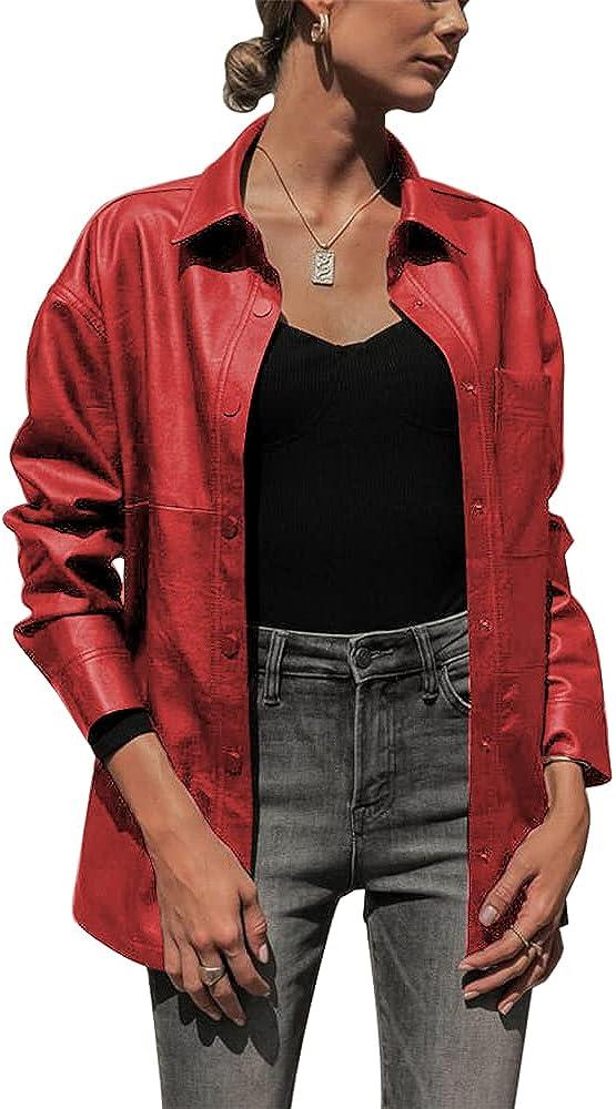 ZIWOCH Women's free Faux lowest price Leather Jacket Sleeve Casual Moto Long Shirt