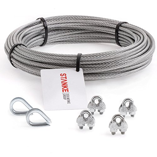 Seilwerk STANKE Rankhilfe Drahtseil verzinkt 5m Stahlseil 3mm 6x7, 2x Kausche, 4x Bügelformklemme - SET 1