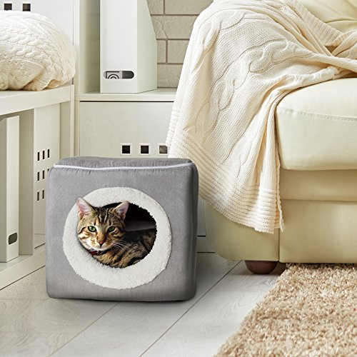 Cat Pet Bed, Cave- Soft Indoor Enclosed Covered Cavern/House for Cats, Kittens,...