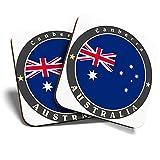 Great Coasters (Set de 2) Posavasos cuadrados/brillantes de calidad para cualquier tipo de mesa, Australia Canberra City Capital Travel #5084