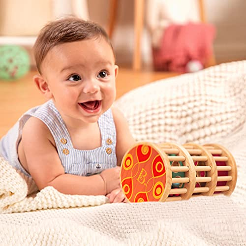 B. toys by Battat B. A-Maze Rain Rush Dexterity Toy – Classic Baby Rainmaker Toy – Development Natural Wooden Toys for Toddlers
