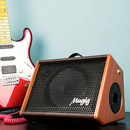 Electric Guitar Amplifier, Mugig Guitar Amplifier 25W, with 3-Band EQ, DSP Effect, Two Seperate Channel for Guitar/Micphone, Support Bluetooth/Charging/Recording/Earphone - Wooden