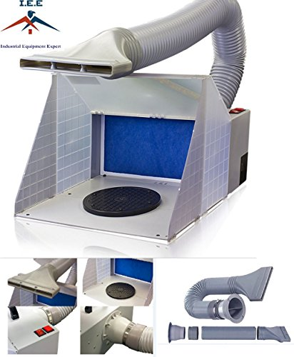 I.E.E Premium Airbrush Brand Lighted Portable Hobby Airbrush Spray Booth with LED Lighting for Painting All Art, Cake, Craft, Hobby, Nails, T-shirts & More. Includes 6 Foot Exhaust Extension Hose