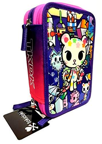 ASTUCCIO TOKIDOKI girl Pink Gattino 3 piani zip fucsia viola + omaggio portacchiave girabrilla + penna colorata + segnalibro