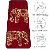 Eslifey tapete de Yoga con diseño de Elefantes Indios étnicos, Antideslizante, Grueso, para Pilates, gimnasios, Yoga, esterillas para Mujeres, 72 x 24 Pulgadas