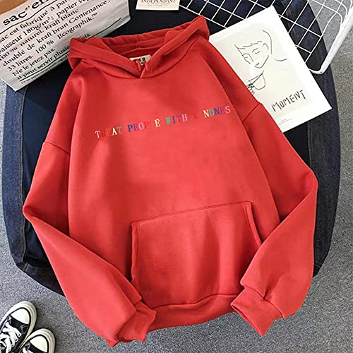 Focisa Sudadera Women HoodedVintage Casual Punk Letter Hip Hop Sweatshirt Casual Harry Styles Treat People with Kindness Hoodeds Winter Tops XXXL