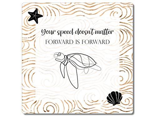 Interluxe Metallschild 20x20cm - Your Speed Doesn´t Matter - tolles Schild mit motivierendem Spruch und Schildkröte