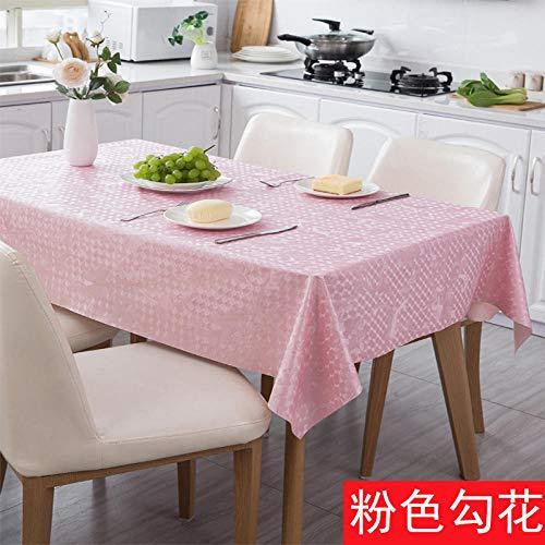 wasserdichte und ölbeständige PVC-Tischdecke Stoff Pu Leder Tischdecke-Pink_137 * 137cm,Abwaschbar Tischdecke Wasserdicht