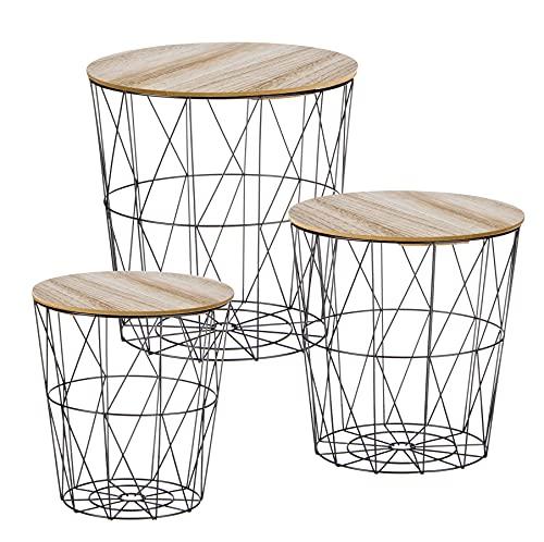Metall Beistelltisch mit Stauraum schwarz - 3er Set/geflammte Tischplatten - Wohnzimmer Tisch mit Abnehmbarer Holz Platte Metallkorb Sofatisch Couchtisch