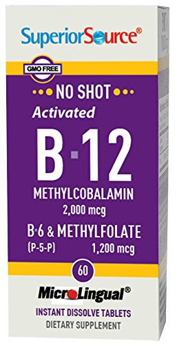 Superior Source No Shot Methylfolate B12 2000mcg P5P Tablets, 60 Count