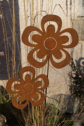 Dewoga 2 Edelrost Blumen Offen auf Stab Gartenstecker Topfstecker Set Metall Blüten