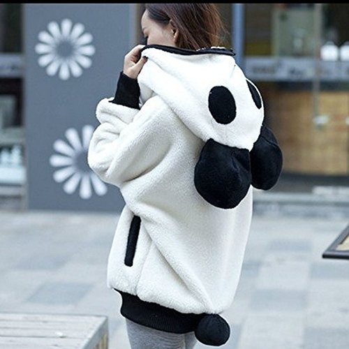 Women Hooded Sweatshirt, TUDUZ Christmas Cute Bear Ear Panda Winter Warm Hoodie Coat Women Hooded Jacket Outerwear (White, XL)