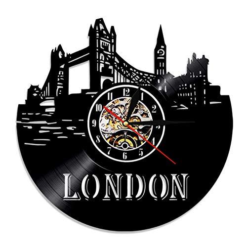 bbmmww London Skyline muurkunst wandklok Engeland Londen Cityscape geluidsplaat wandklok Engeland Big Ben landschap reis cadeau klok Met led-licht.