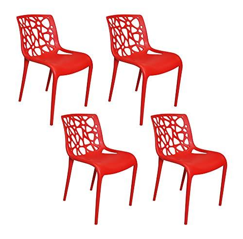 Sedia in polipropilene rosso impilabile mod. Greta (4pz)