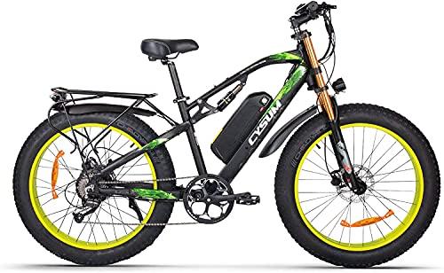 RICH BIT Bicicleta eléctrica para Adultos 1000W 48V Bicicleta de Ejercicio eléctrica sin escobillas, batería de Litio Desmontable 17Ah Freno de Disco de Bicicleta de montaña (Amarillo-Negro)