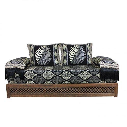 Orientalisches Sofa marokkanische Sitzcouch 6 tlg inkl. Füllung mit Rücken- & Lehnenkissen | Arabische Sitzgruppe Sitzecke Sitzkissen Sark Kösesi aus Marrakesch | Sitzgarnitur Nasiha mit Holz-Gestell